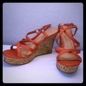 3/$35 - Orange Wedge Sandals SZ 9